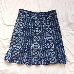 Fossil Bohemian Blue Skirt Size 6